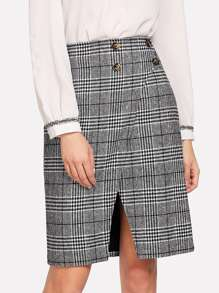 Button Detail Cut Out Checked Skirt