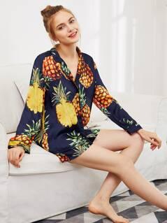 Pineapple Print Tipping Shirt & Shorts Pajama Set