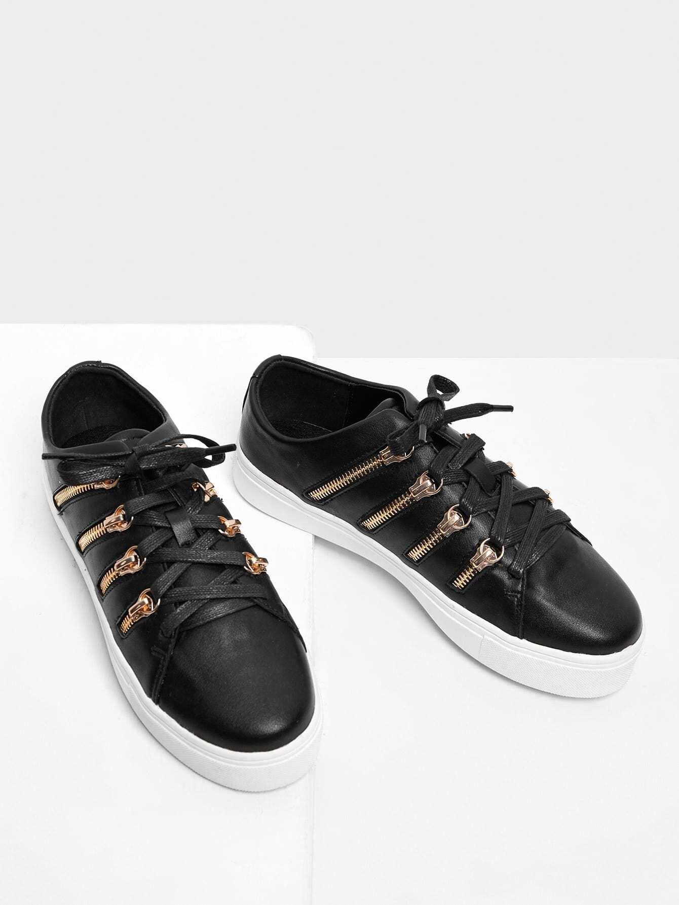 Zipper Side Design Lace Up Sneakers
