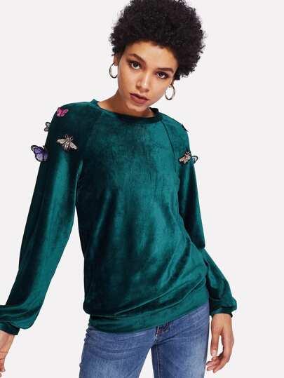 Applique Detail Raglan Sleeve Ribbed Velvet Pullover
