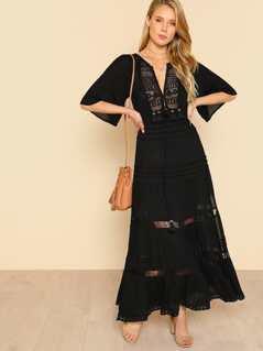 Crocheted Tassel Detail Dress BLACK
