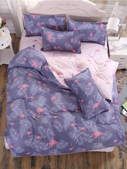 2.2m 4Pcs Flamingo Random Print Bed Sheet Set