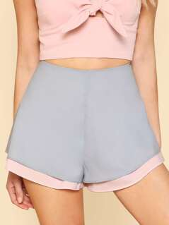 Two Tone Layered Shorts