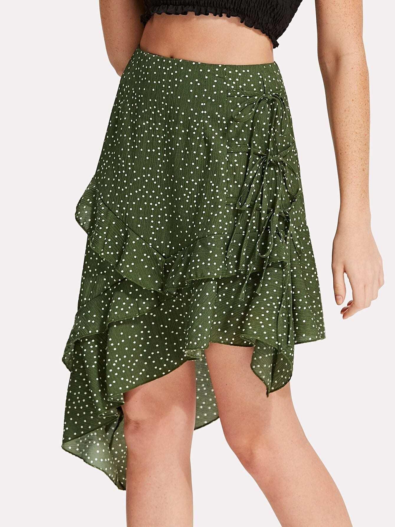 Polka Dot Asymmetrical Ruffle Hem Skirt asymmetrical ruffle hem denim skirt