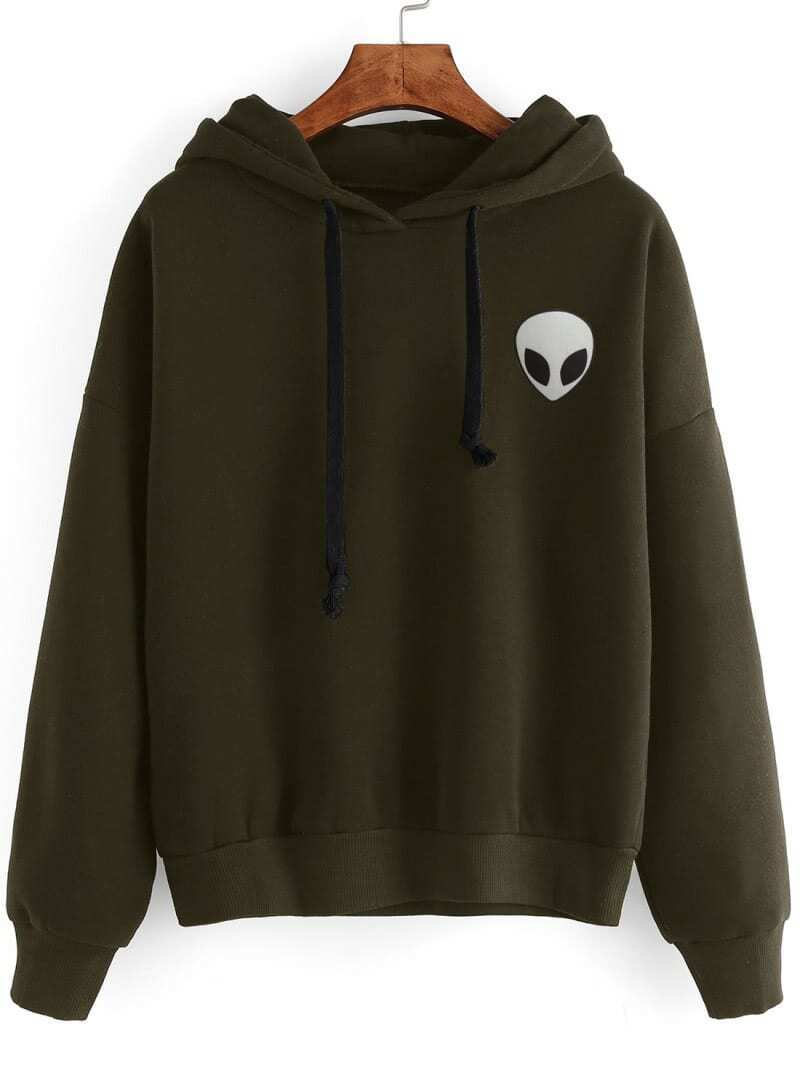 Alien Print Drop Shoulder Hooded Drawstring Sweatshirt drop shoulder grommet tie detail sweatshirt