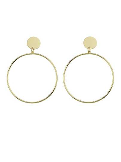 Gold Big Geometric Circle Hanging Earrings