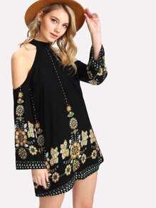 Halter Cold Shoulder Tribal Floral Dress