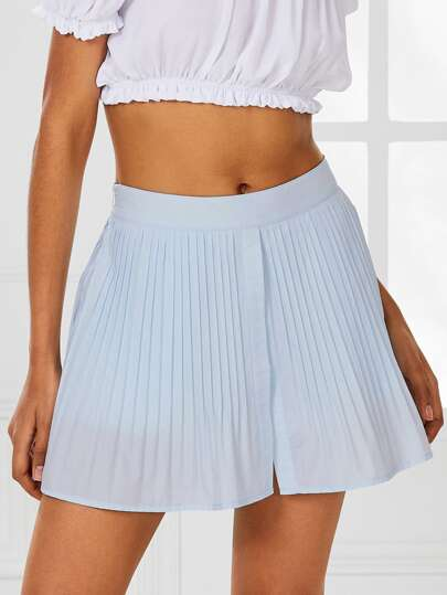 Pleated Split Front Skort