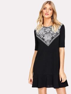 Ruffle Hem Flower Print Dress