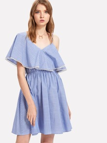 Dot Lace Trim Asymmetric Shoulder Striped Dress