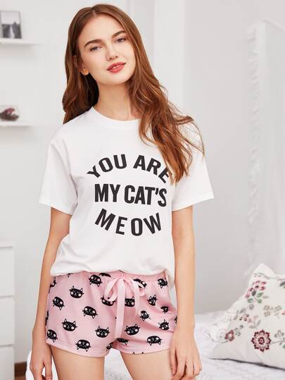 Letter Print Tee And Cat Print Shorts PJ Set