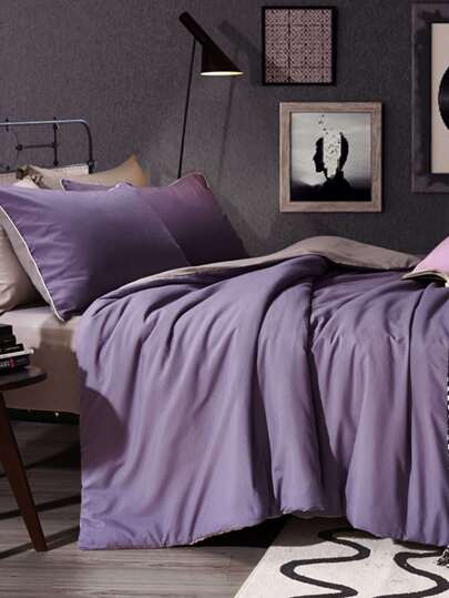 2.0m 4Pcs Two Tone Solid Pattern Bedding Set