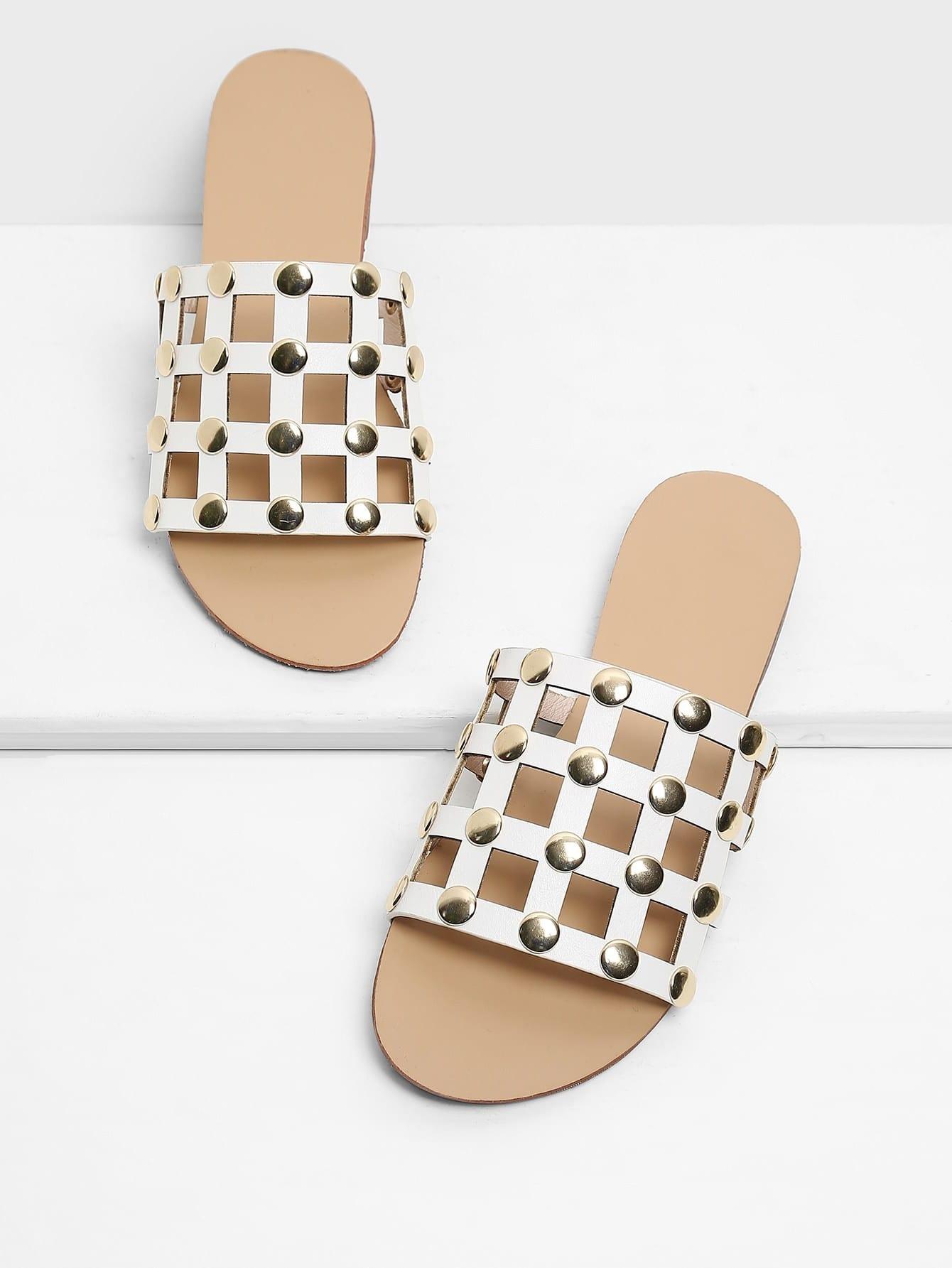 Studded Design Cut Out Sandals