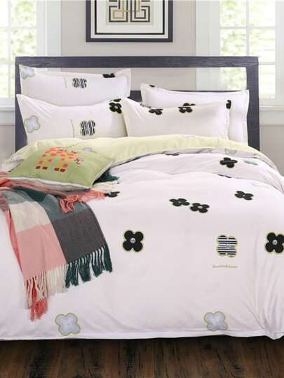 1.8m Flower Pattern Duvet Cover Set