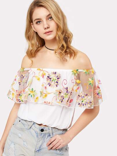 Embroidered Mesh Ruffle Bardot Top
