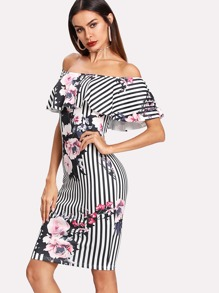 Mixed Print Flounce Bardot Dress