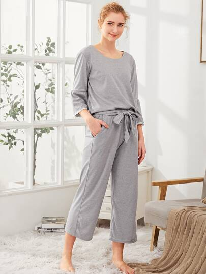 Lace Trim Tee & Tie Waist Pants PJ Set