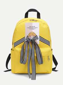 Striped Lace Up Design Canvas Backpack