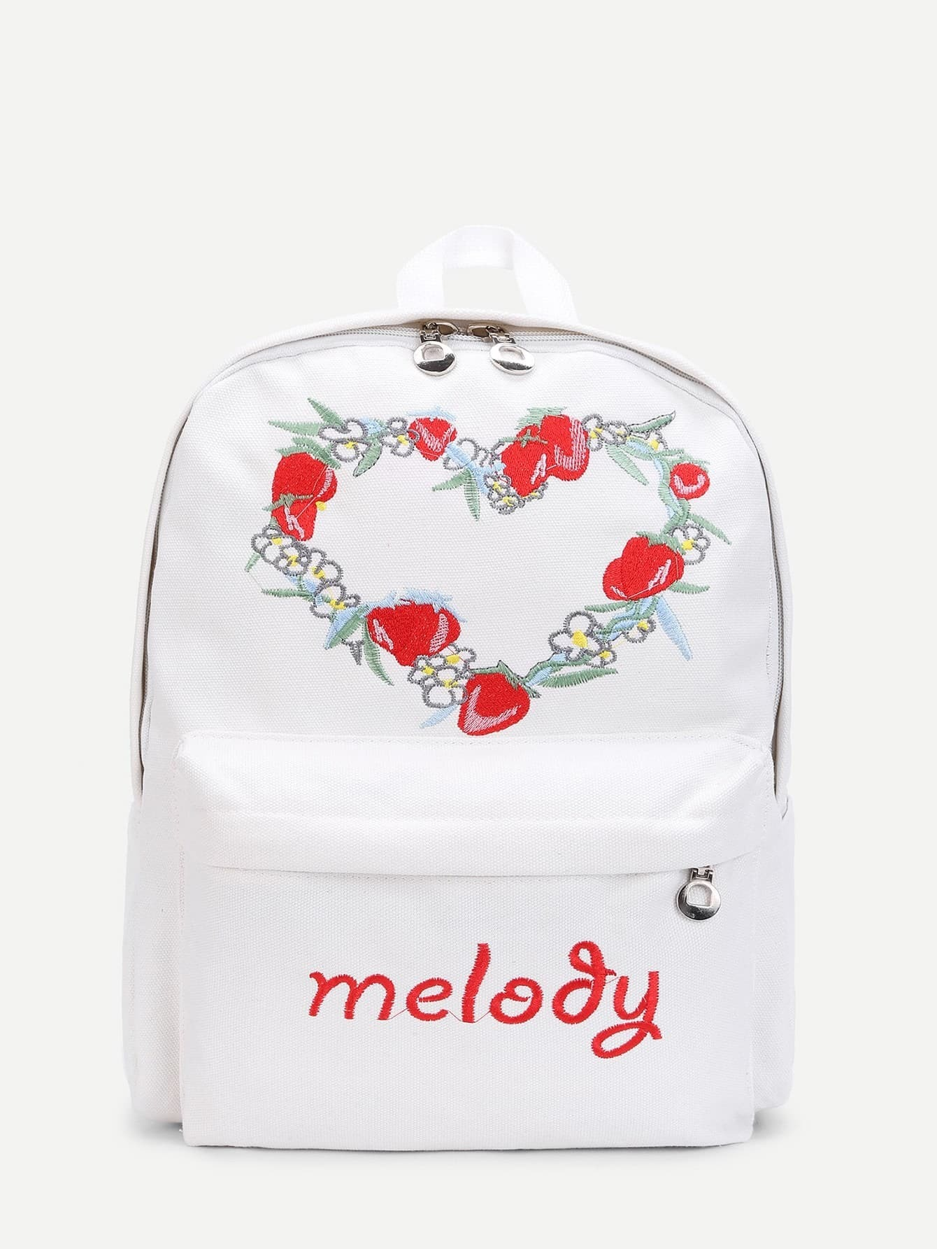 Strawberry Embroidery Double Zipper Canvas Backpack nylon double zipper metal backpack
