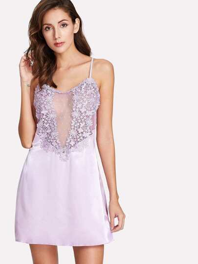 Crochet Lace Satin Sleep Dress