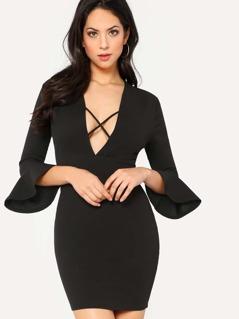 Flounce Sleeve Crisscross Plunging Neck Dress