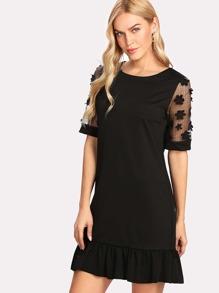 3D Appliques Mesh Sleeve Pep Hem Dress