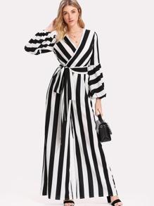 Bishop Sleeve Striped Wrap Jumpsuit