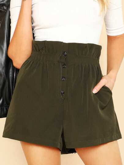 Ruffle Waist Button Fly Shorts