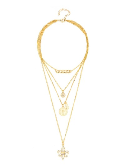 Chain & Round Pendant Layered Chain Necklace