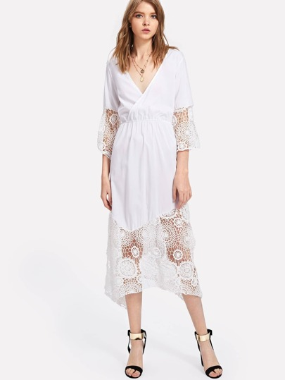 Lace Crochet Contrast Surplice Wrap Dress