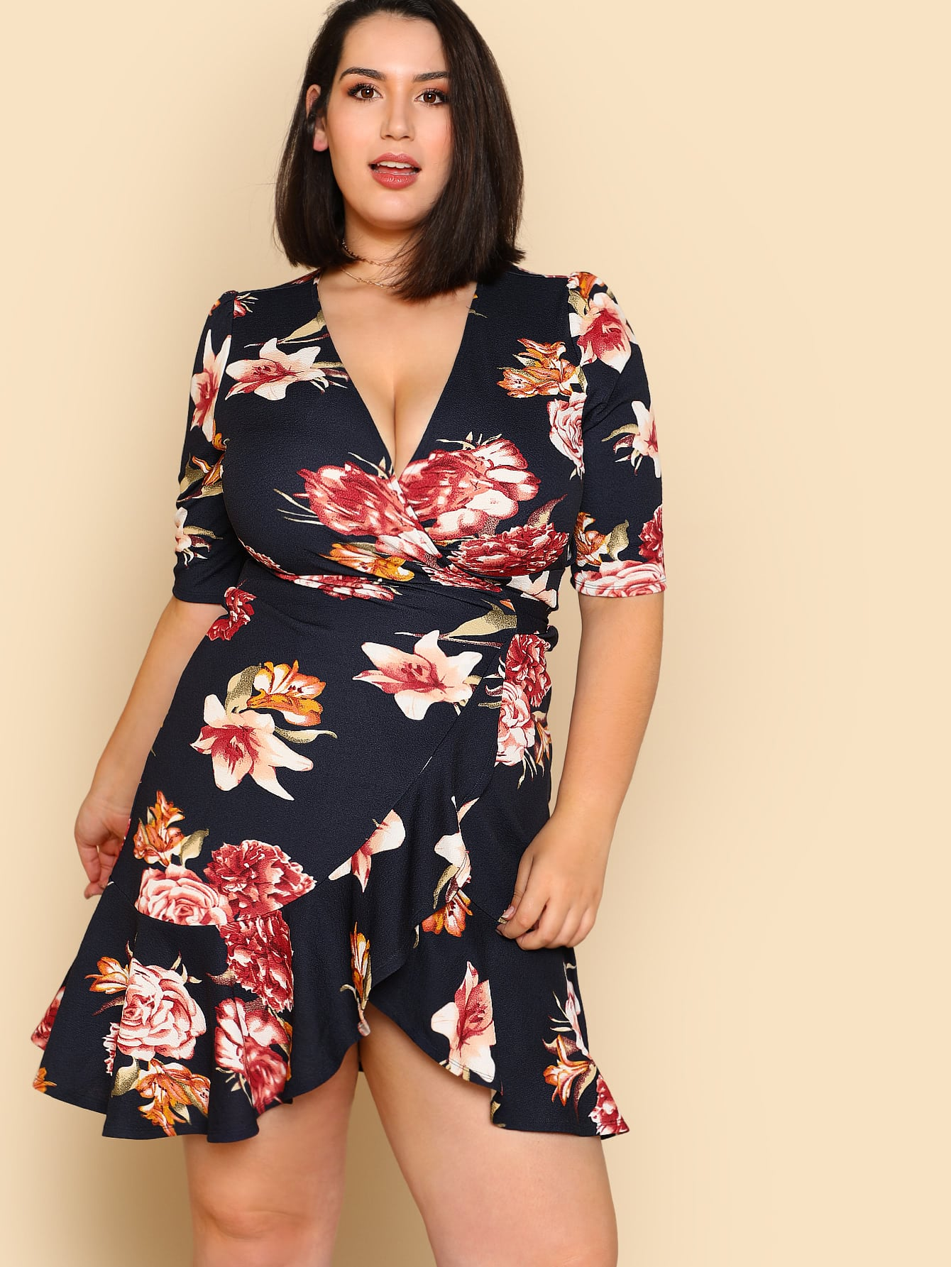 цены Ruffle Trim Surplice Wrap Floral Dress