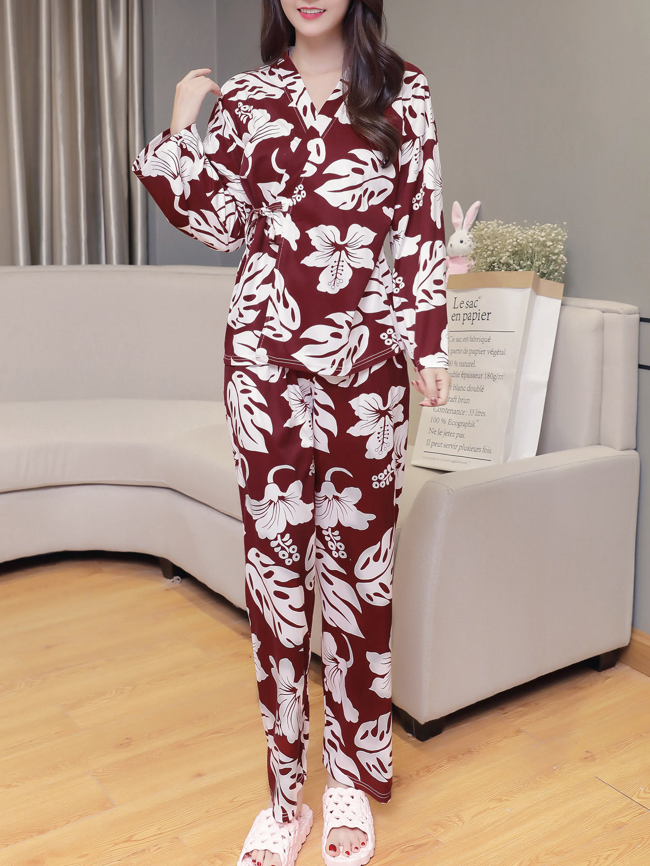 All Over Florals Wrap Top & Pants Pj Set