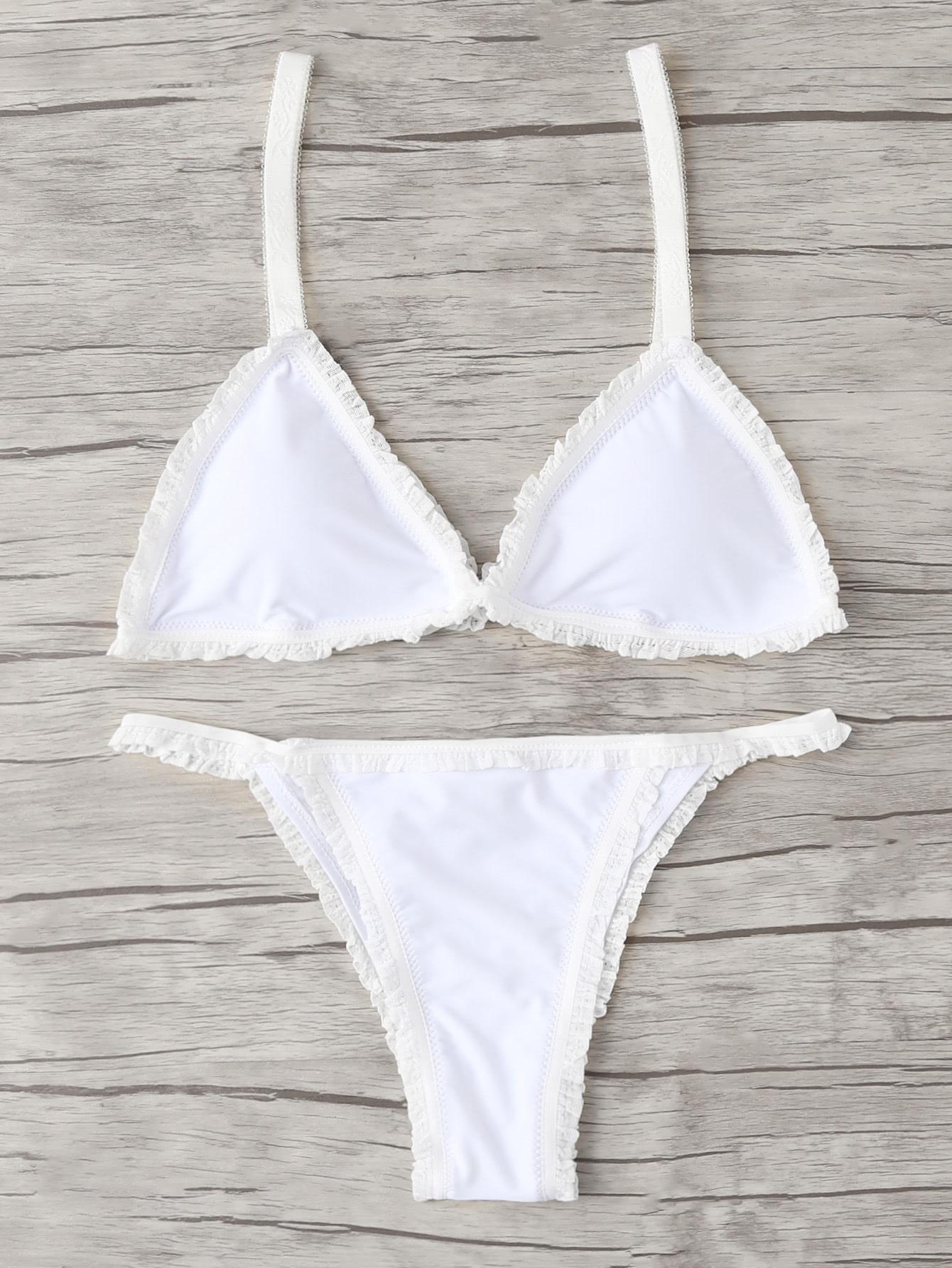 Frill Hem Triangle Bikini Set frill trim triangle bikini set