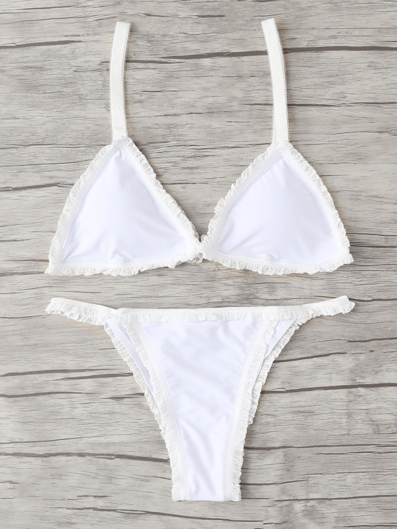 Frill Hem Triangle Bikini Set