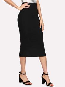 Elastic Waist Solid Pencil Skirt