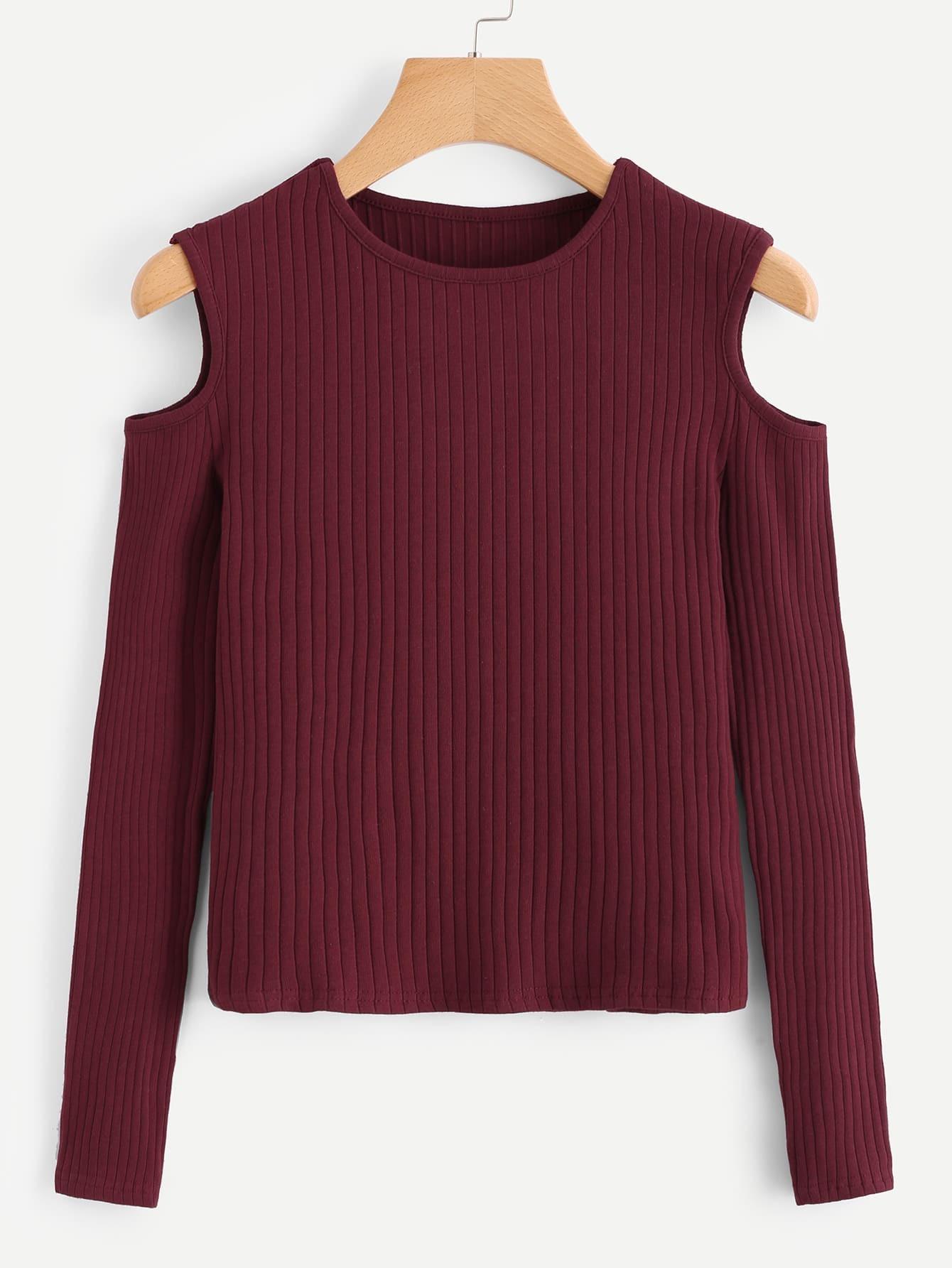 Open Shoulder Ribbed Tshirt tee180105115
