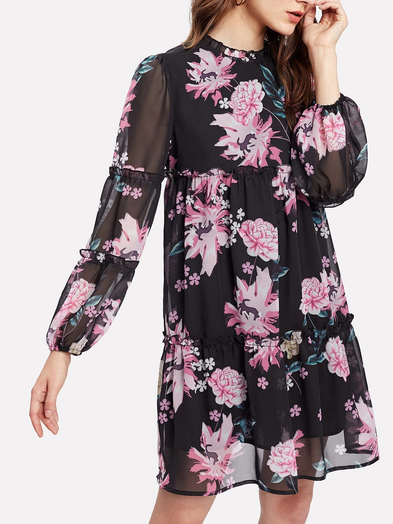 Bishop Sleeve Frilled Detail Floral Dress