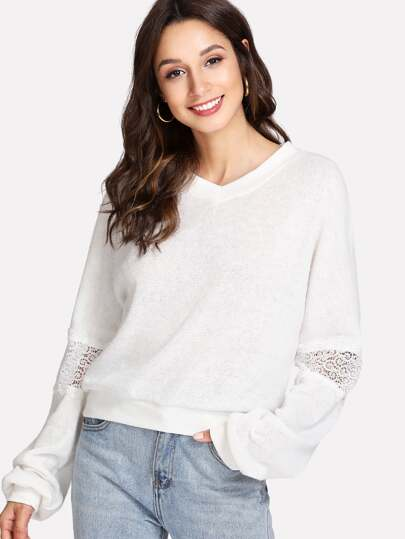 Guipure Lace Panel Jumper