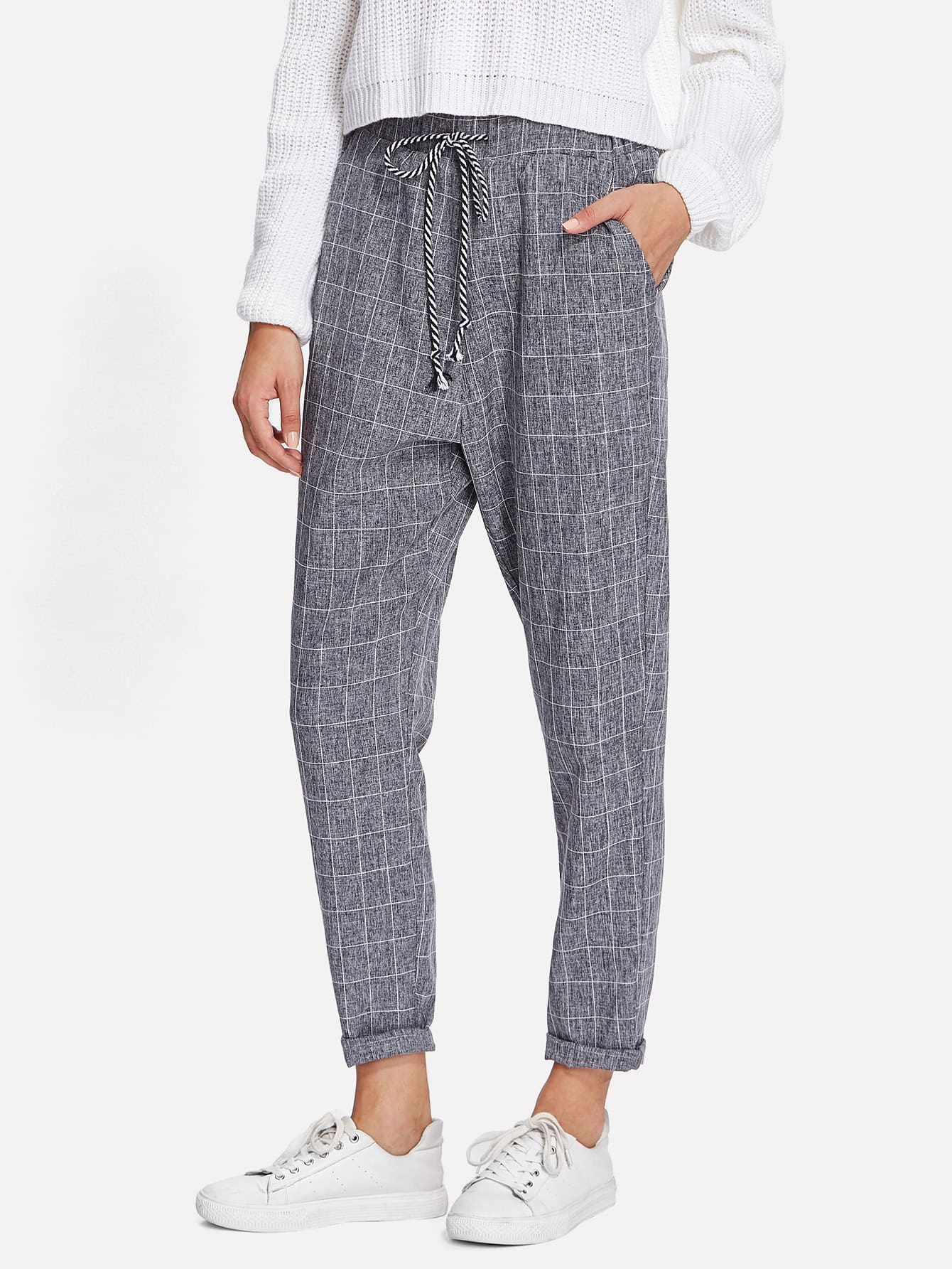 Pocket Side Grid Peg Pants panel side grid palazzo pants