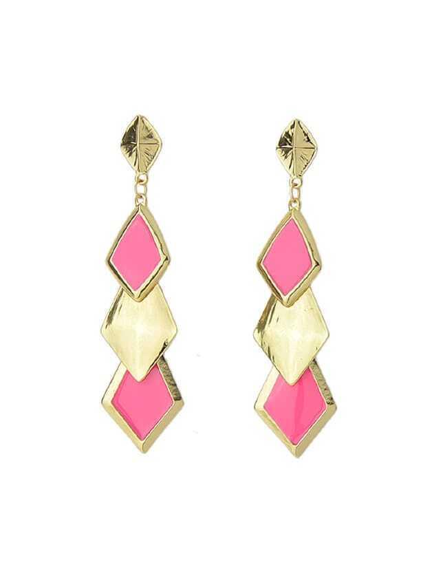Enamel Geometric Drop Earrings enamel geometric drop earrings