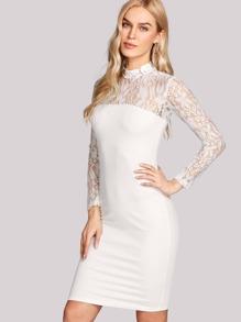 Floral Lace Yoke Form Fitting Dress