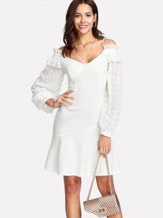 Cold Shoulder Dot Jacquard Bishop Sleeve Dress
