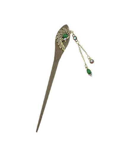 Purple Classical Peacock Wooden Hairpin