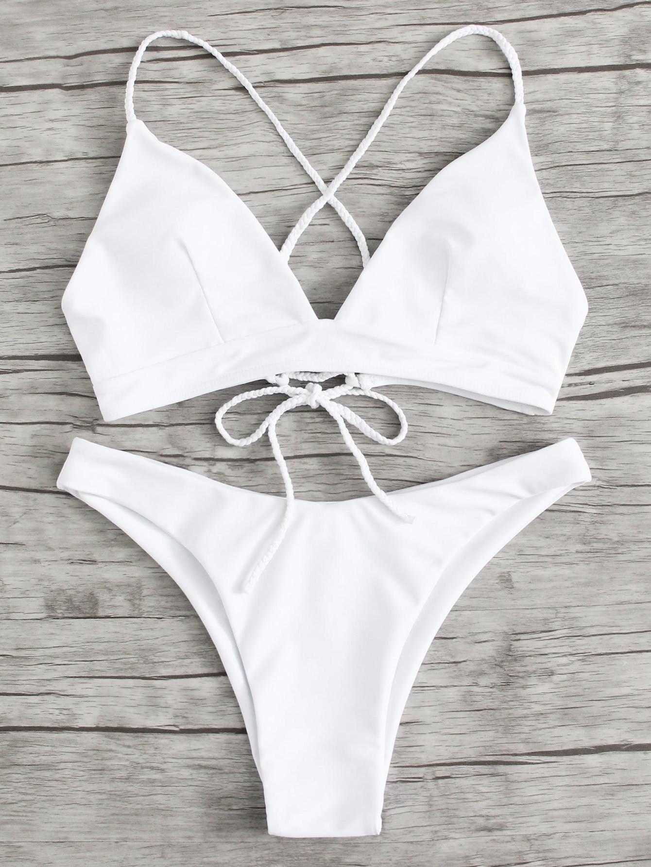 Braided Strap Detail Lace Up Bikini Set все цены