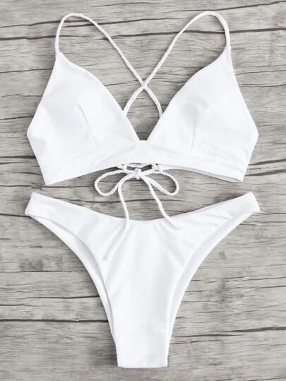 Braided Strap Detail Lace Up Bikini Set
