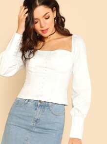 Bow Tie Back Button Detail Top