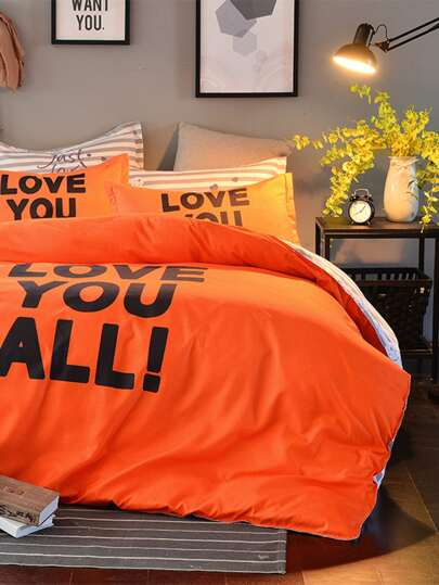 Slogan Print Contrast Striped Duvet Cover Set