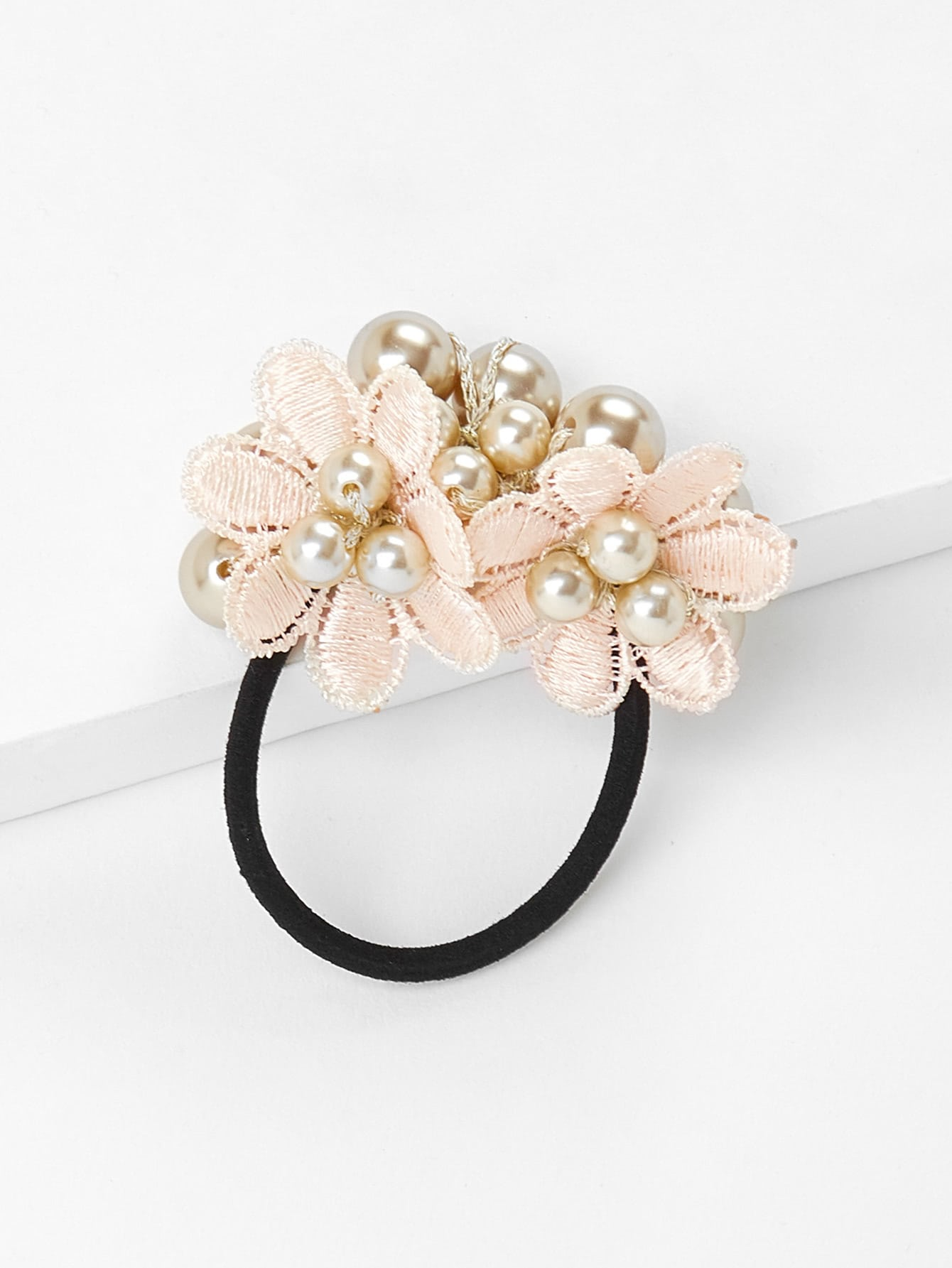 Flower & Faux Pearl Hair Tie hairha180108338