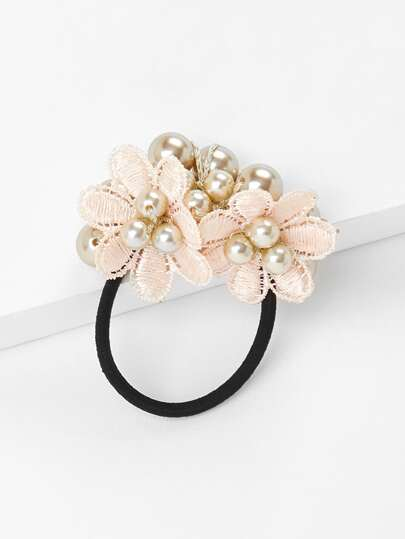 Flower & Faux Pearl Hair Tie