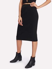 Split Back Ribbed Knit Skirt